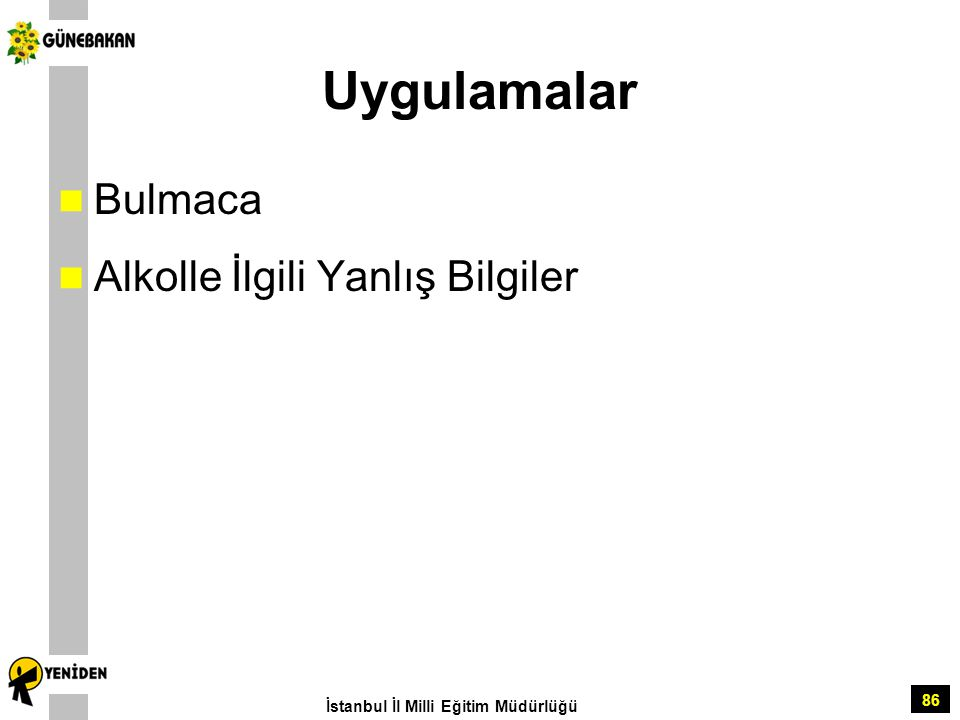 86 Uygulamalar Bulmaca Alkolle İlgili Yanlış Bilgiler İstanbul İl Milli Eğitim Müdürlüğü