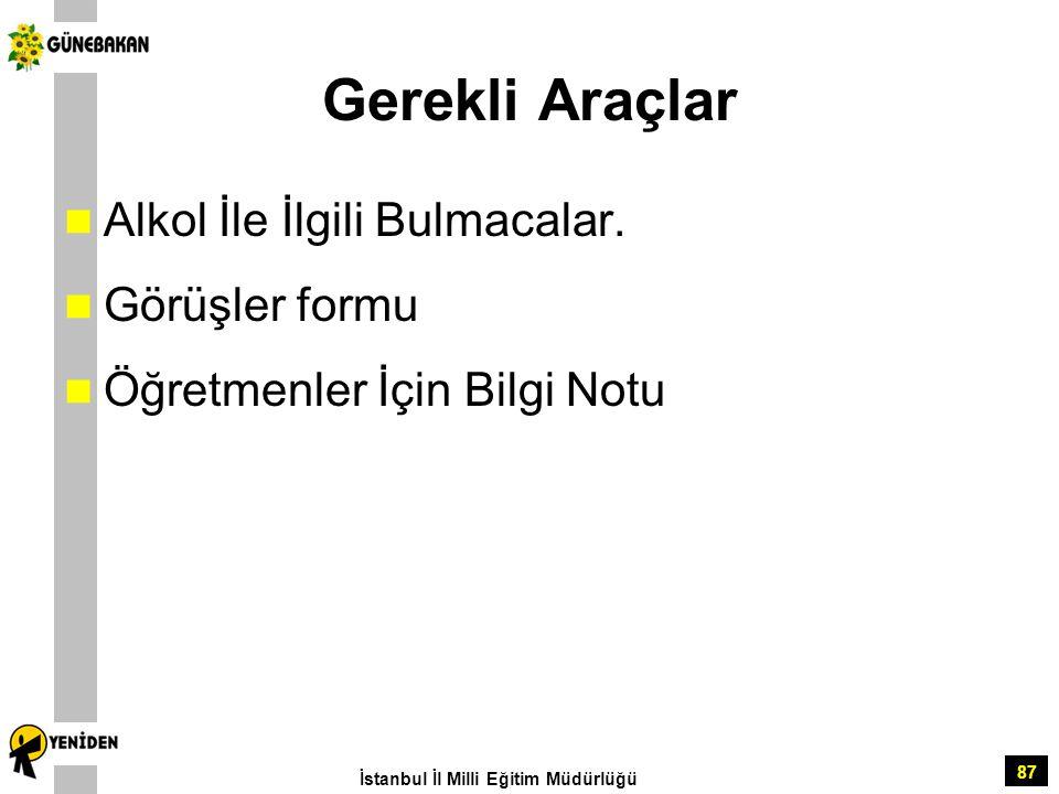 87 Gerekli Araçlar Alkol İle İlgili Bulmacalar. Görüşler formu Öğretmenler İçin Bilgi Notu İstanbul İl Milli Eğitim Müdürlüğü