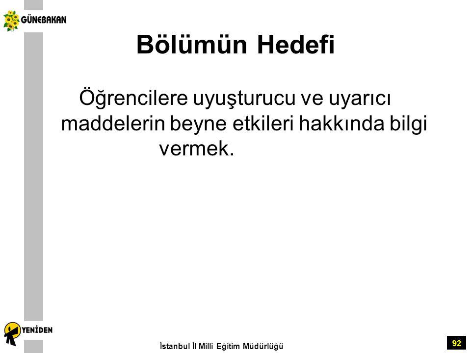 92 Bölümün Hedefi Öğrencilere uyuşturucu ve uyarıcı maddelerin beyne etkileri hakkında bilgi vermek. İstanbul İl Milli Eğitim Müdürlüğü