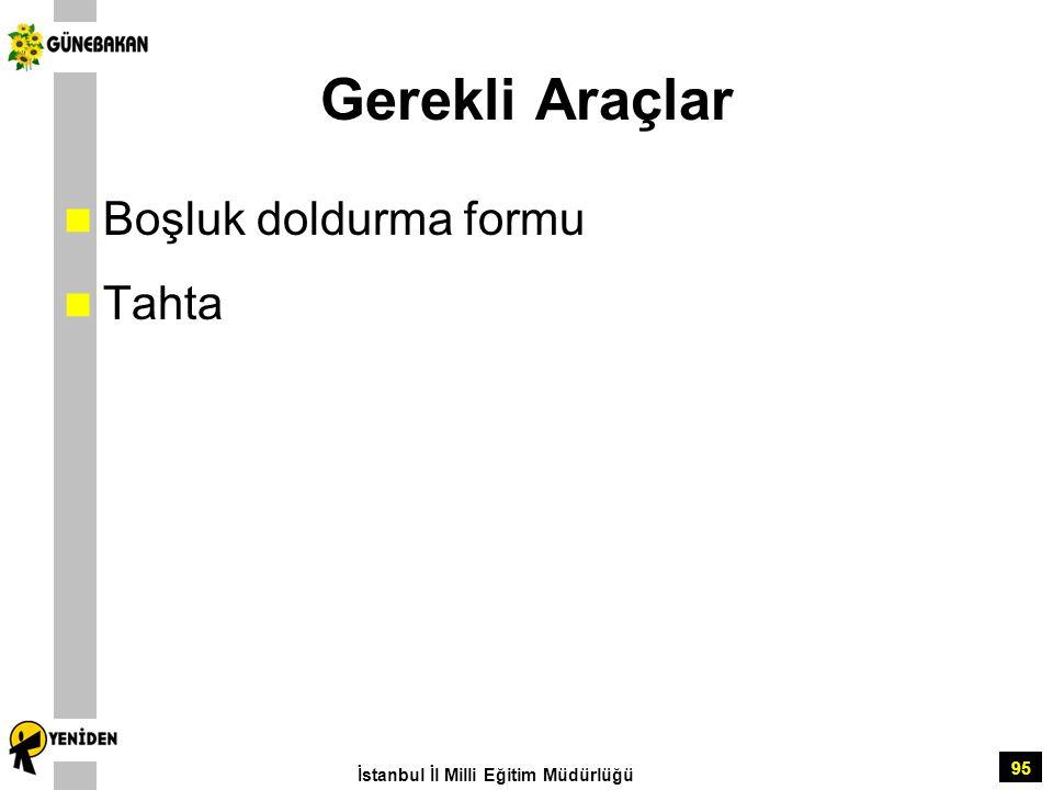 95 Gerekli Araçlar Boşluk doldurma formu Tahta İstanbul İl Milli Eğitim Müdürlüğü