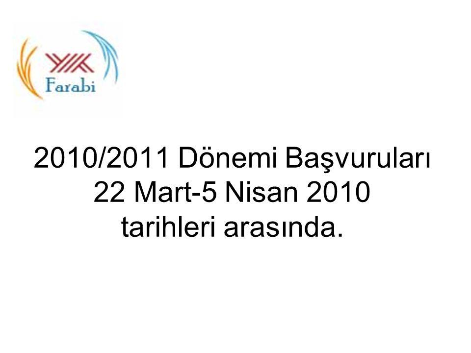 2010/2011 Dönemi Başvuruları 22 Mart-5 Nisan 2010 tarihleri arasında.