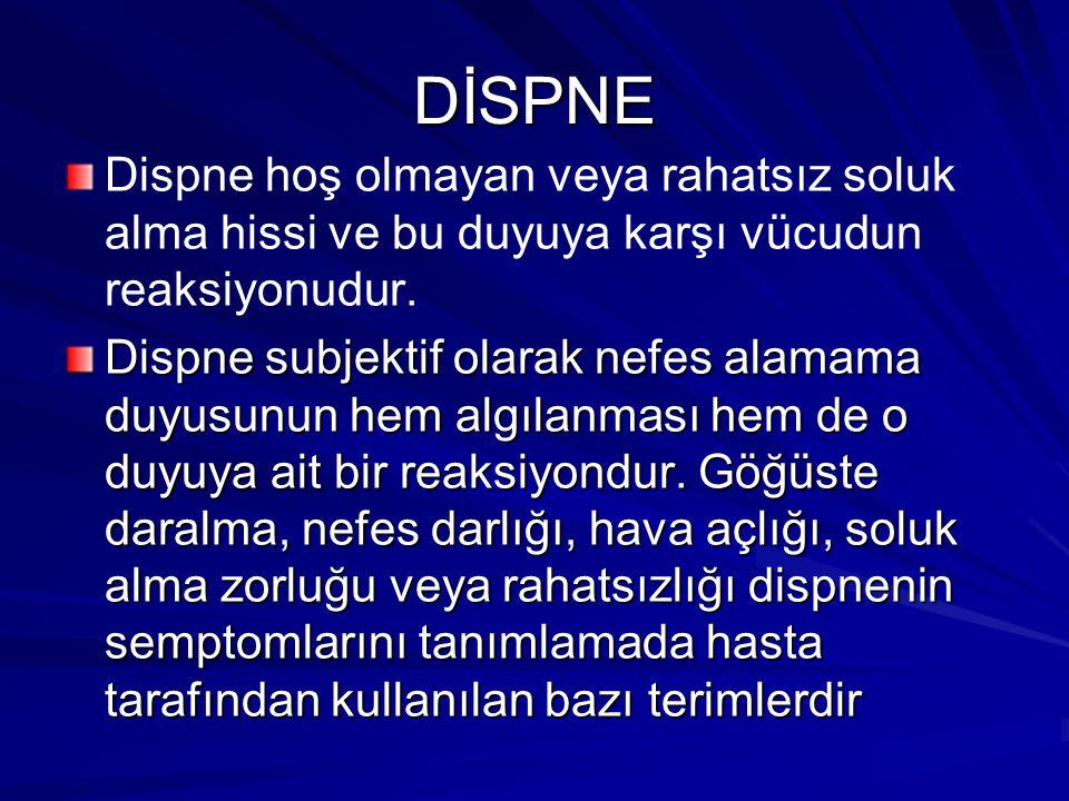 DİSPNE Dispne hoş olmayan veya rahatsız soluk alma hissi ve bu duyuya karşı vücudun reaksiyonudur. Dispne subjektif olarak nefes alamama duyusunun hem