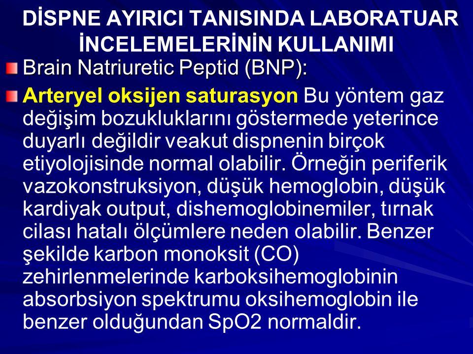 DİSPNE AYIRICI TANISINDA LABORATUAR İNCELEMELERİNİN KULLANIMI Brain Natriuretic Peptid (BNP): Arteryel oksijen saturasyon Bu yöntem gaz değişim bozukl