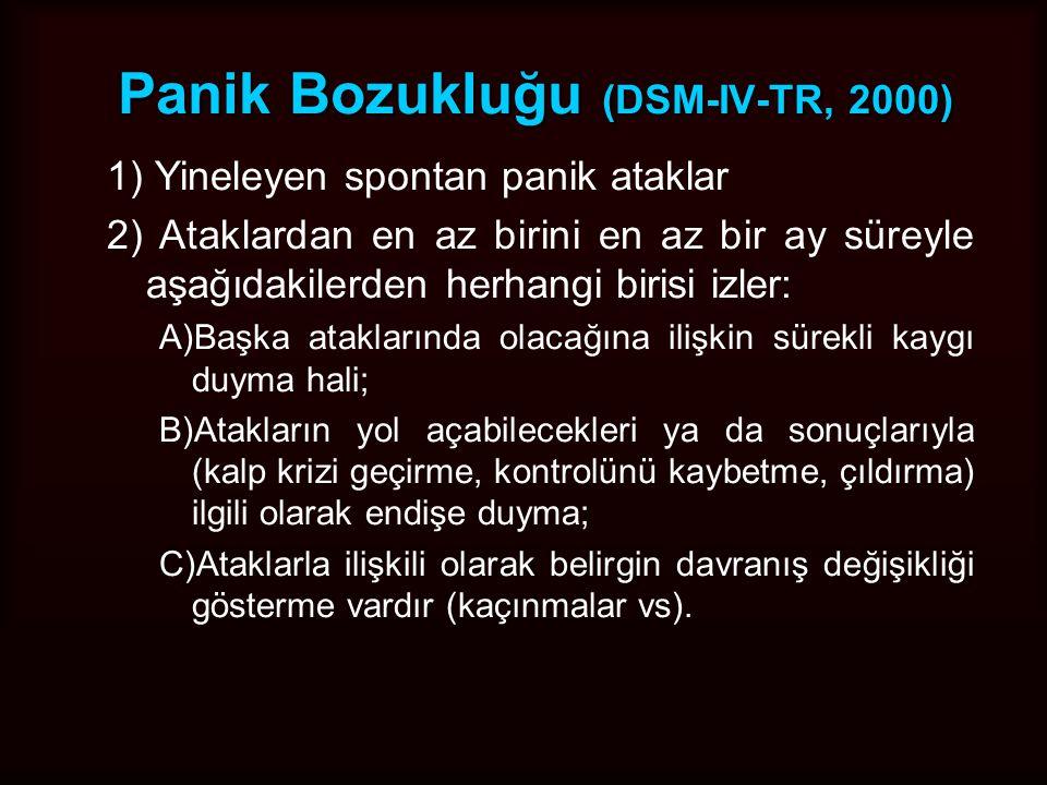 Panik Bozukluğu ve Agorafobide Epidemiyoloji Türkiye Ruh sağlığı çalışması: Panik bozukluğu ve agorofobinin sıklığı: %1 Kadınlarda sıktır (Örneğin TRÇ'da erkeklerin yaklaşık üç katı) ABD'de yaşam boyu panik semptomatolojisi –İzole panik atak %9,3 –Tekrarlayan panik atak %3,6 –Panik Bozukluk %1,5 Agorofobi sıklığı –Kanada %2,9 –ECA%5,6 –NCS%6,7 Panik atak görülme sıklığı yıllık %10; panik bozukluk %1,5, İlk basamak hekimlere başvuran bütün hastalar içinde %20.5 panik bozukluk ya da panik atak; bunların şiddetli panik atağı olan grupta %31'i teşhis ediliyor.
