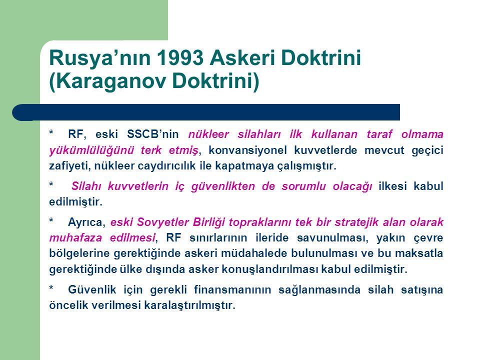 Rusya'nın 1993 Askeri Doktrini (Karaganov Doktrini) *RF, eski SSCB'nin nükleer silahları ilk kullanan taraf olmama yükümlülüğünü terk etmiş, konvansiy