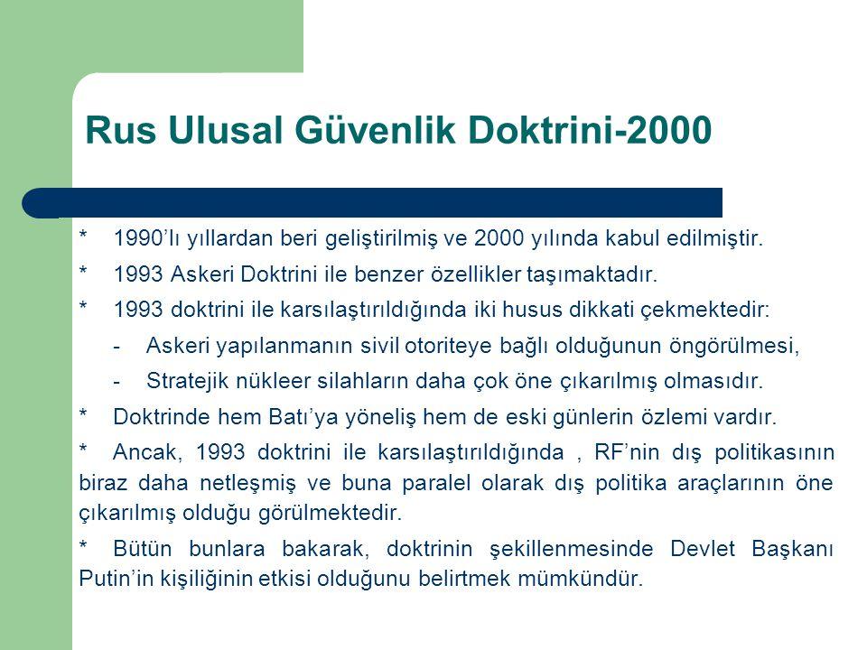 *1990'lı yıllardan beri geliştirilmiş ve 2000 yılında kabul edilmiştir. *1993 Askeri Doktrini ile benzer özellikler taşımaktadır. *1993 doktrini ile k