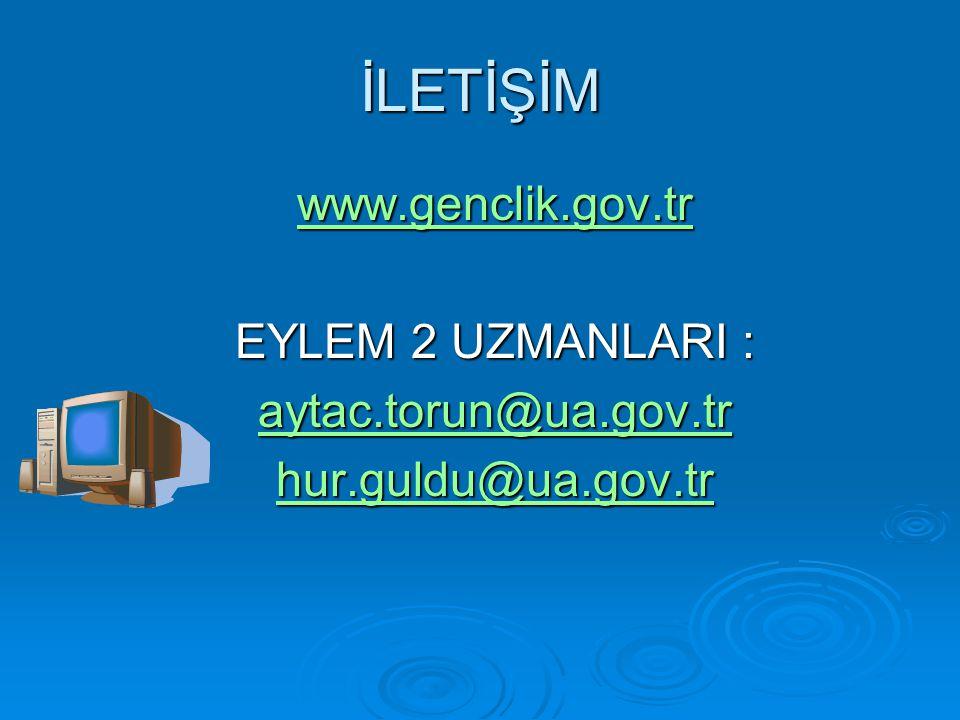 İLETİŞİM www.genclik.gov.tr EYLEM 2 UZMANLARI : aytac.torun@ua.gov.tr hur.guldu@ua.gov.tr