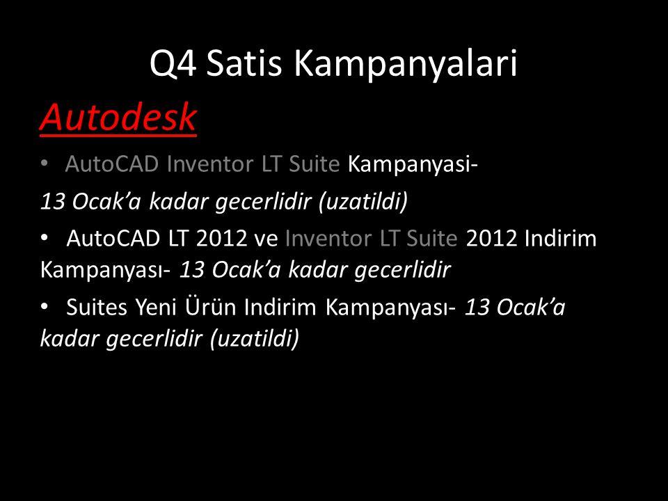 AutoCAD Inventor LT Suite Kampanyasi Full Yeni Lisans: SK fiyatindan %11,6 indirim SRP: €1,075 %11,6 indirim ile SRP: €950 (*ek kampanya mevcuttur) AutoCAD LT den Upgrade: SK fiyatindan %47 indirim SRP: 550€ %47 indirim ile SRP: €292 * 13 Ocak'a kadar gecerlidir