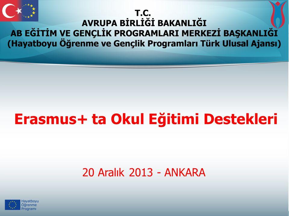 20 Aralık 2013 - ANKARA Erasmus+ ta Okul Eğitimi Destekleri
