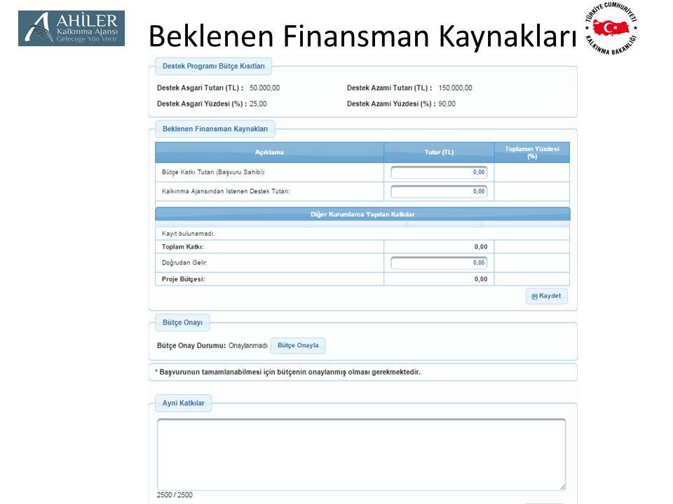 Beklenen Finansman Kaynakları