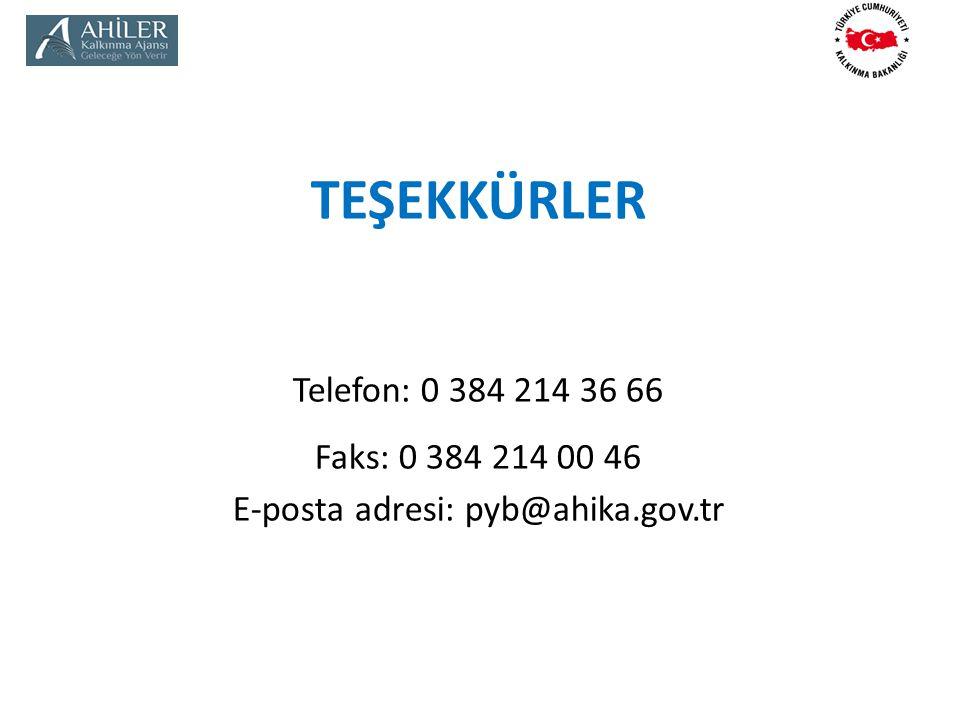 TEŞEKKÜRLER Telefon: 0 384 214 36 66 Faks: 0 384 214 00 46 E-posta adresi: pyb@ahika.gov.tr