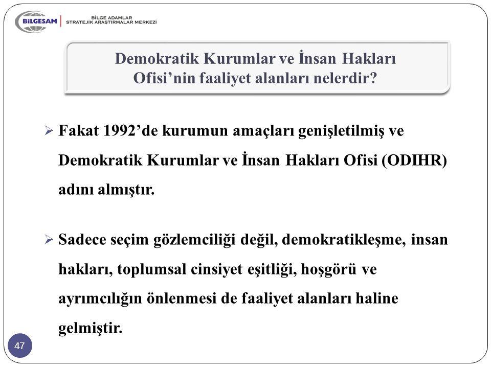 47  Fakat 1992'de kurumun amaçları genişletilmiş ve Demokratik Kurumlar ve İnsan Hakları Ofisi (ODIHR) adını almıştır.  Sadece seçim gözlemciliği de