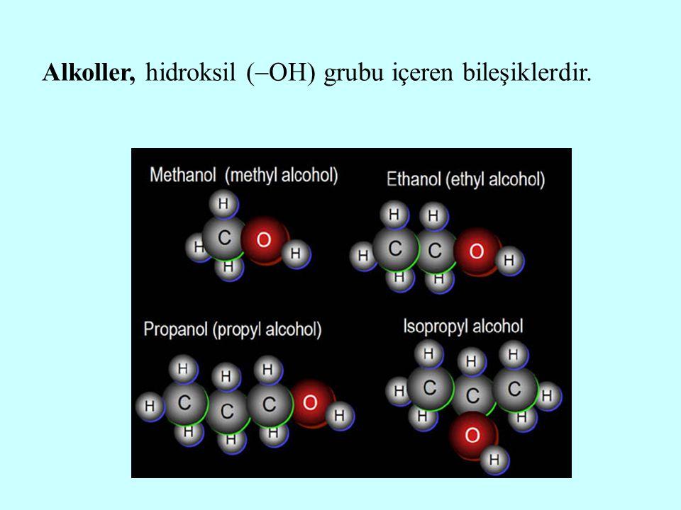 Alkoller, hidroksil grubunun bağlı olduğu karbon atomunun primer (RCH 2  ), sekonder (R 2 CH  ), tersiyer (R 3 C  ) olmasına göre primer alkoller (RCH 2  OH), sekonder alkoller (R 2 CH  OH), tersiyer alkoller (R 3 C  OH) olarak sınıflandırılırlar.
