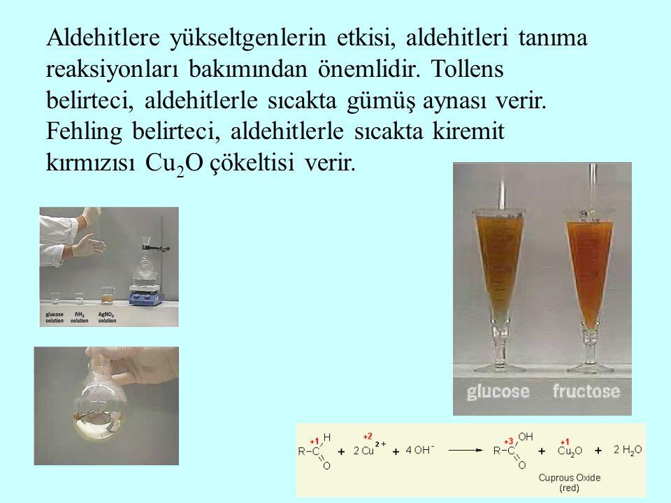 Aldehitlere yükseltgenlerin etkisi, aldehitleri tanıma reaksiyonları bakımından önemlidir. Tollens belirteci, aldehitlerle sıcakta gümüş aynası verir.