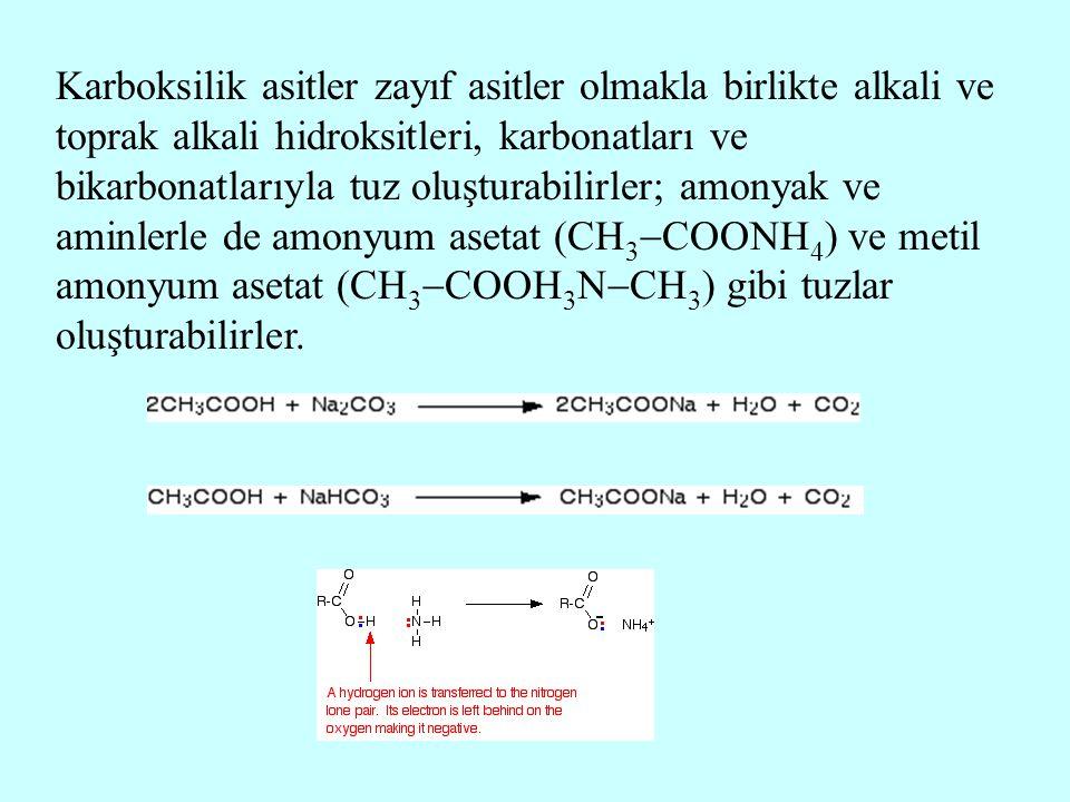 Karboksilik asitler zayıf asitler olmakla birlikte alkali ve toprak alkali hidroksitleri, karbonatları ve bikarbonatlarıyla tuz oluşturabilirler; amon