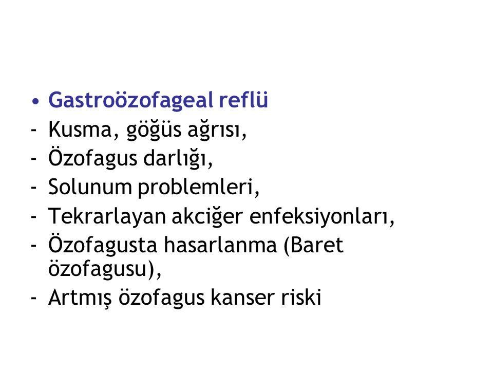 Gastroözofageal reflü -Kusma, göğüs ağrısı, -Özofagus darlığı, -Solunum problemleri, -Tekrarlayan akciğer enfeksiyonları, -Özofagusta hasarlanma (Bare