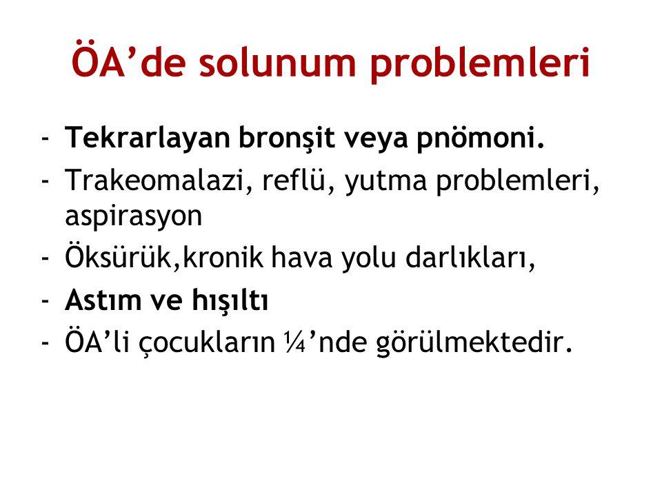 ÖA'de solunum problemleri -Tekrarlayan bronşit veya pnömoni. -Trakeomalazi, reflü, yutma problemleri, aspirasyon -Öksürük,kronik hava yolu darlıkları,