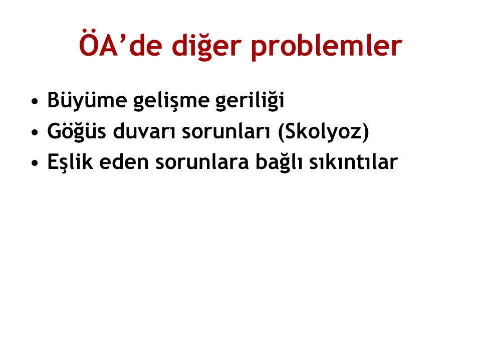 ÖA'de diğer problemler Büyüme gelişme geriliği Göğüs duvarı sorunları (Skolyoz) Eşlik eden sorunlara bağlı sıkıntılar