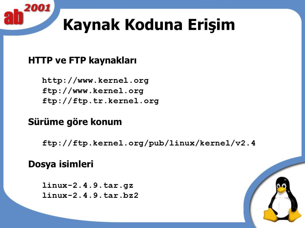 Kaynak Koduna Erişim HTTP ve FTP kaynakları http://www.kernel.org ftp://www.kernel.org ftp://ftp.tr.kernel.org Sürüme göre konum ftp://ftp.kernel.org/pub/linux/kernel/v2.4 Dosya isimleri linux-2.4.9.tar.gz linux-2.4.9.tar.bz2