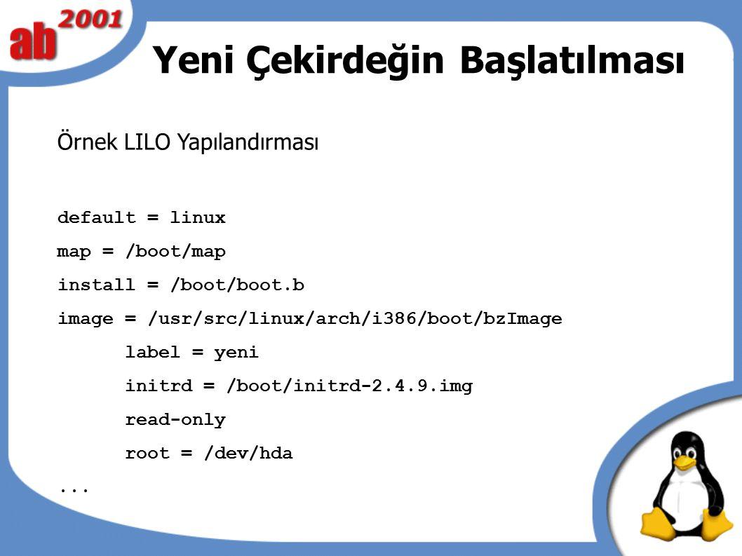 Yeni Çekirdeğin Başlatılması Örnek LILO Yapılandırması default = linux map = /boot/map install = /boot/boot.b image = /usr/src/linux/arch/i386/boot/bz