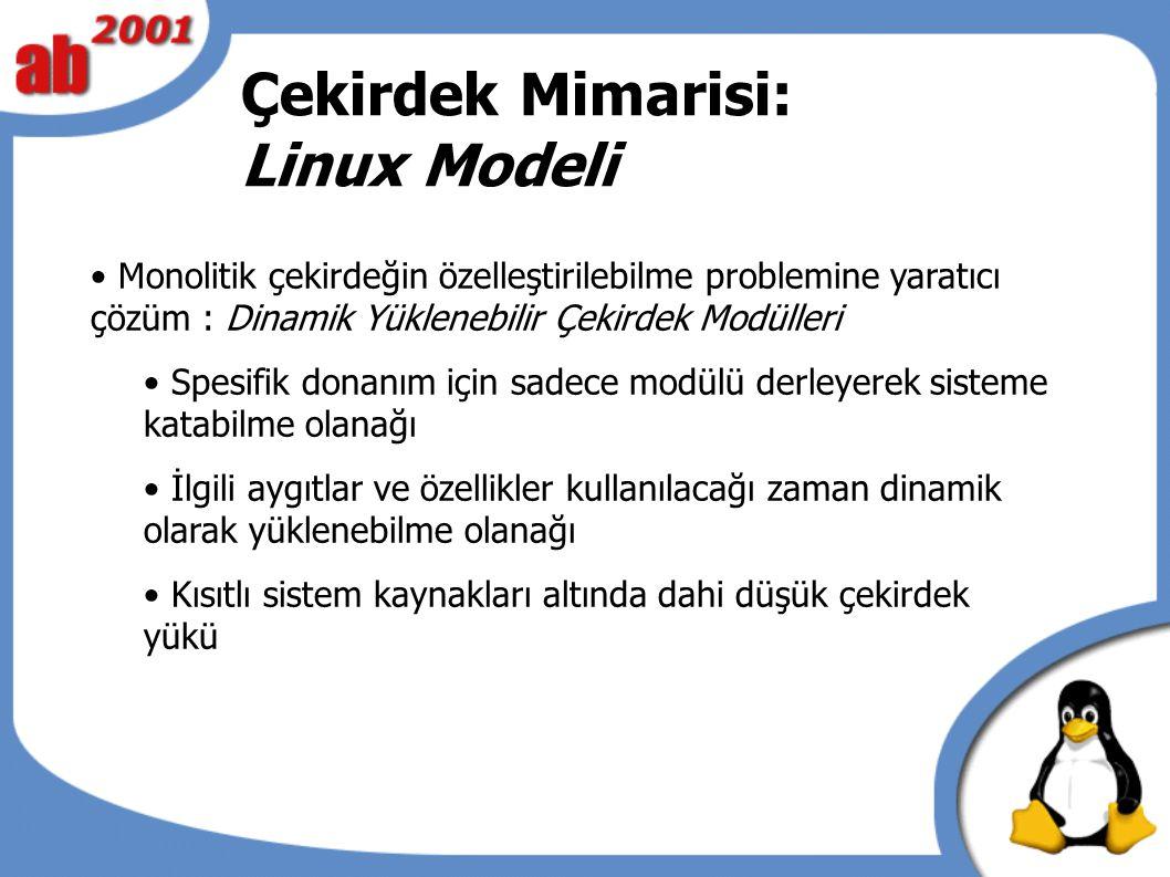 Çekirdek Mimarisi: Linux Modeli Monolitik çekirdeğin özelleştirilebilme problemine yaratıcı çözüm : Dinamik Yüklenebilir Çekirdek Modülleri Spesifik donanım için sadece modülü derleyerek sisteme katabilme olanağı İlgili aygıtlar ve özellikler kullanılacağı zaman dinamik olarak yüklenebilme olanağı Kısıtlı sistem kaynakları altında dahi düşük çekirdek yükü