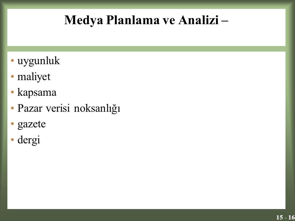 15 - 16 Medya Planlama ve Analizi – uygunluk maliyet kapsama Pazar verisi noksanlığı gazete dergi
