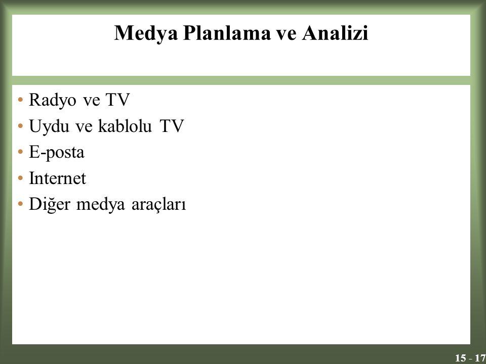15 - 17 Medya Planlama ve Analizi Radyo ve TV Uydu ve kablolu TV E-posta Internet Diğer medya araçları