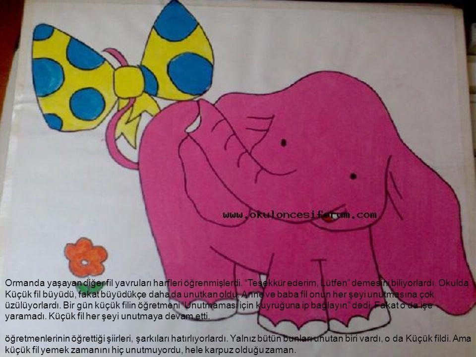 """Ormanda yaşayan diğer fil yavruları harfleri öğrenmişlerdi. """"Teşekkür ederim, Lütfen"""" demesini biliyorlardı. Okulda Küçük fil büyüdü, fakat büyüdükçe"""