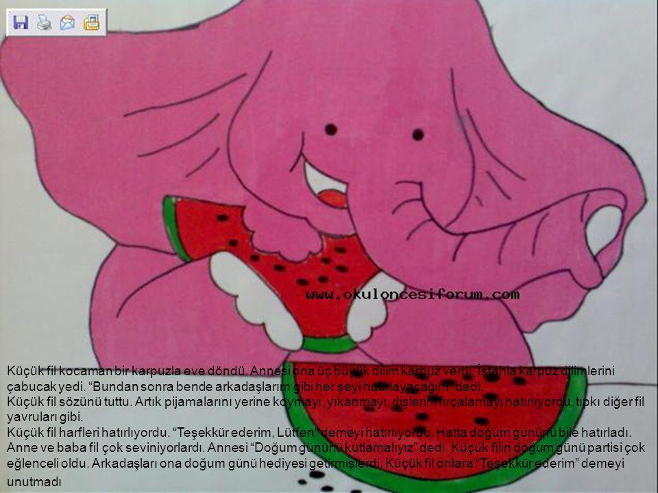 """Küçük fil kocaman bir karpuzla eve döndü. Annesi ona üç büyük dilim karpuz verdi. İştahla karpuz dilimlerini çabucak yedi. """"Bundan sonra bende arkadaş"""
