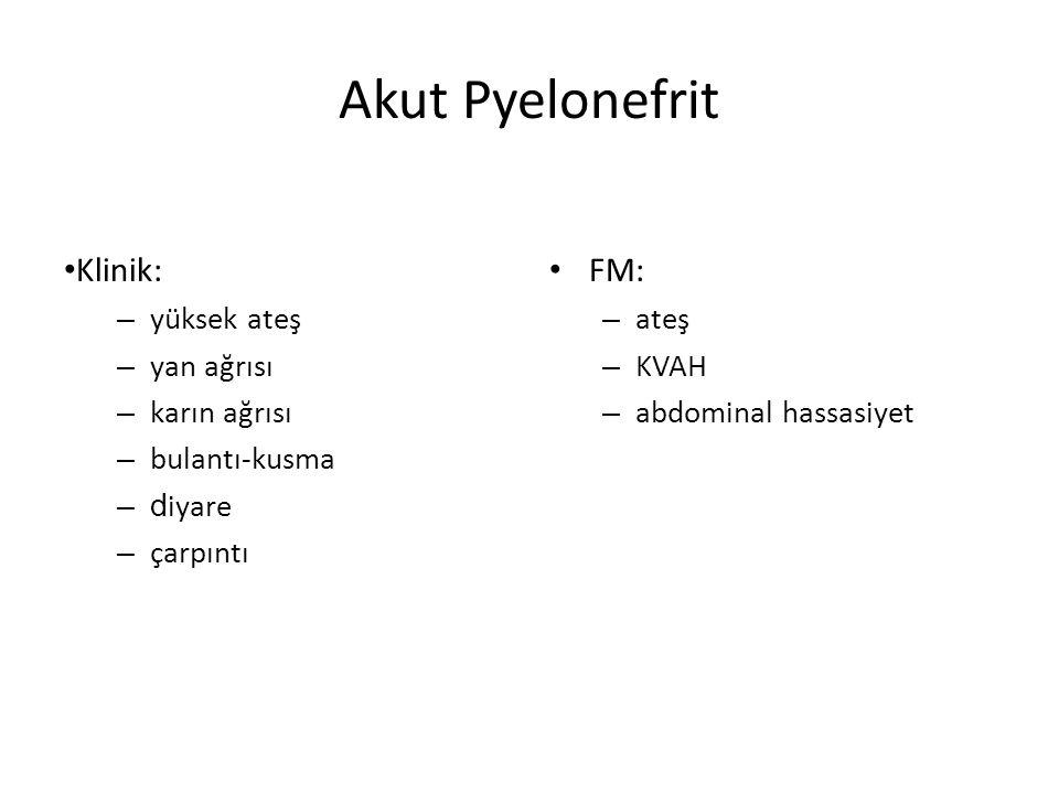 Akut Pyelonefrit Klinik: – yüksek ateş – yan ağrısı – karın ağrısı – bulantı-kusma –d iyare – çarpıntı FM: – ateş – KVAH – abdominal hassasiyet