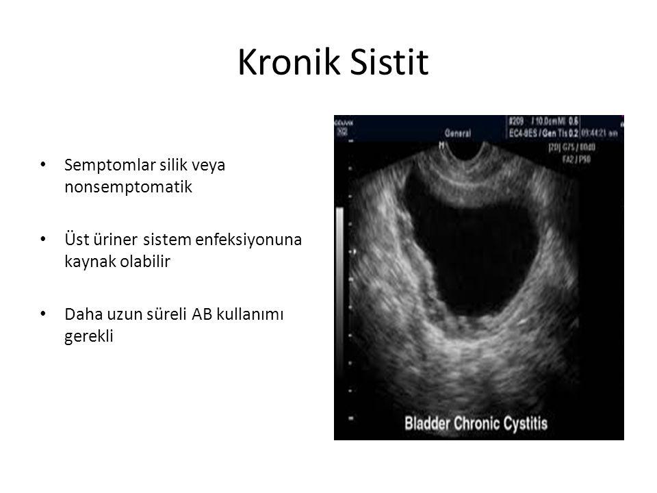 Kronik Sistit Semptomlar silik veya nonsemptomatik Üst üriner sistem enfeksiyonuna kaynak olabilir Daha uzun süreli AB kullanımı gerekli