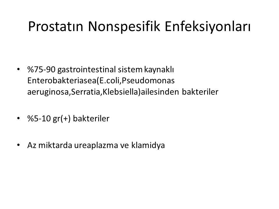 Prostatın Nonspesifik Enfeksiyonları %75-90 gastrointestinal sistem kaynaklı Enterobakteriasea(E.coli,Pseudomonas aeruginosa,Serratia,Klebsiella)ailes