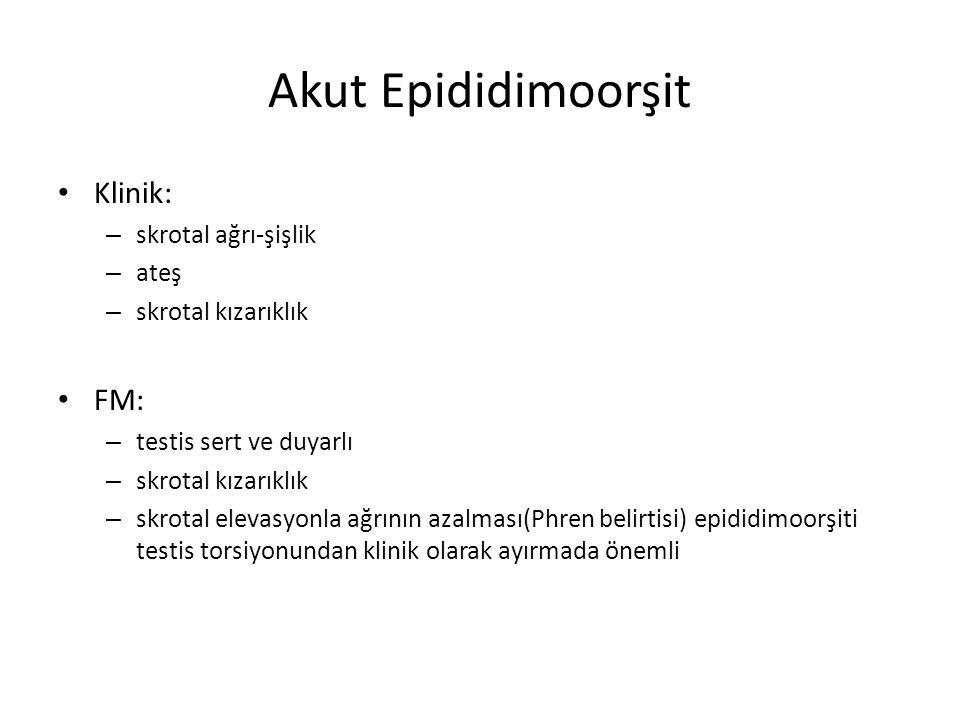 Akut Epididimoorşit Klinik: – skrotal ağrı-şişlik – ateş – skrotal kızarıklık FM: – testis sert ve duyarlı – skrotal kızarıklık – skrotal elevasyonla
