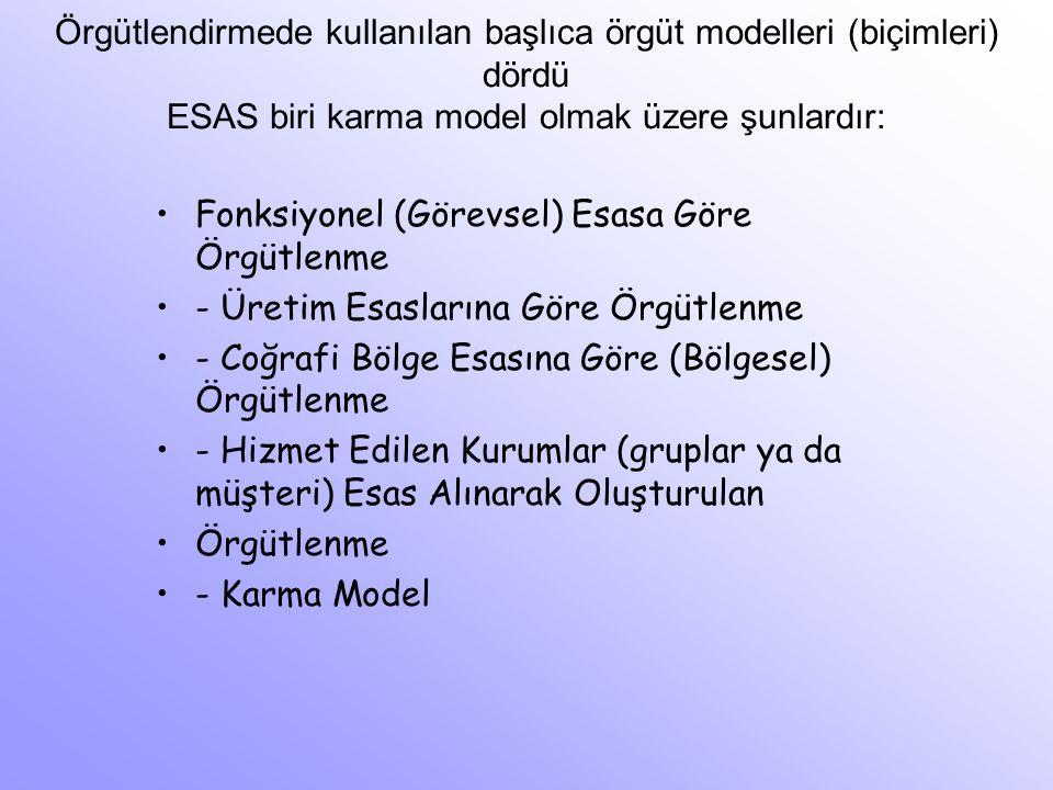 Örgütlendirmede kullanılan başlıca örgüt modelleri (biçimleri) dördü ESAS biri karma model olmak üzere şunlardır: Fonksiyonel (Görevsel) Esasa Göre Ör