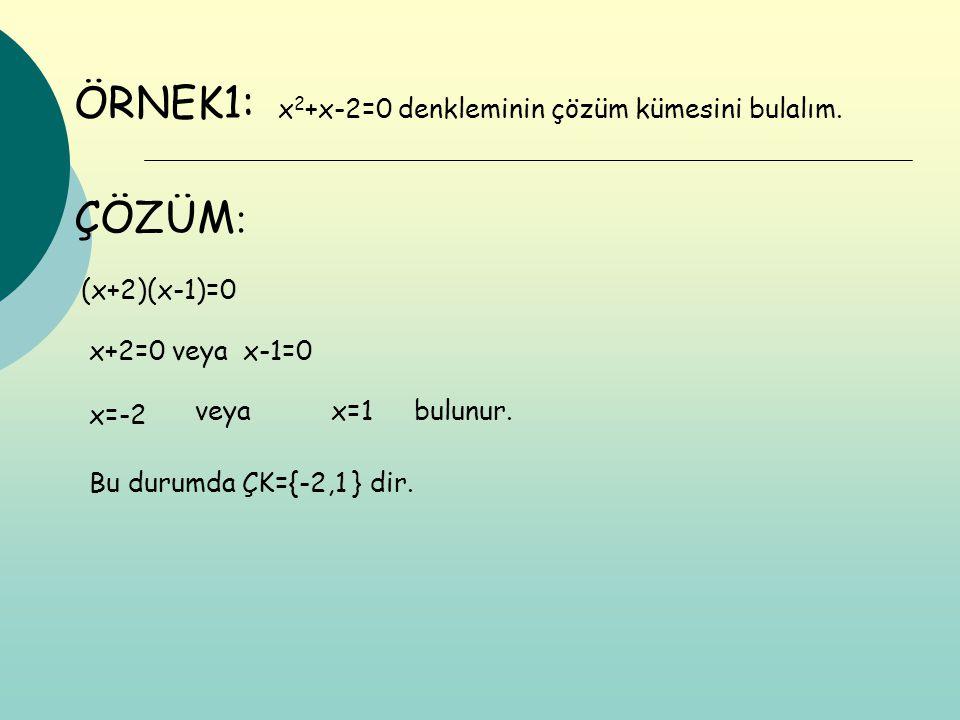 ÖRNEK1: (x+2)(x-1)=0 x+2=0 veya x-1=0 x 2 +x-2=0 denkleminin çözüm kümesini bulalım. x=-2 x=1veyabulunur. Bu durumda ÇK={-2,1 } dir. ÇÖZÜM :