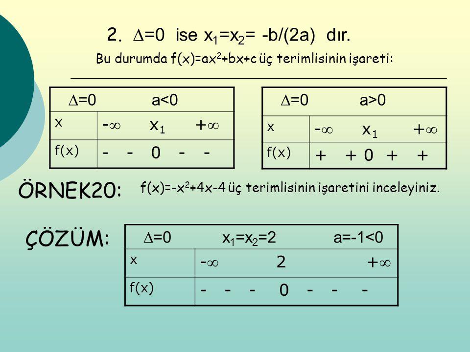 2. ∆=0 ise x 1 =x 2 = -b/(2a) dır. ∆=0 a<0 x - x 1 + f(x) - - 0 - - ∆=0 a>0 x - x 1 + f(x) + + 0 + + Bu durumda f(x)=ax 2 +bx+c üç terimlisinin iş