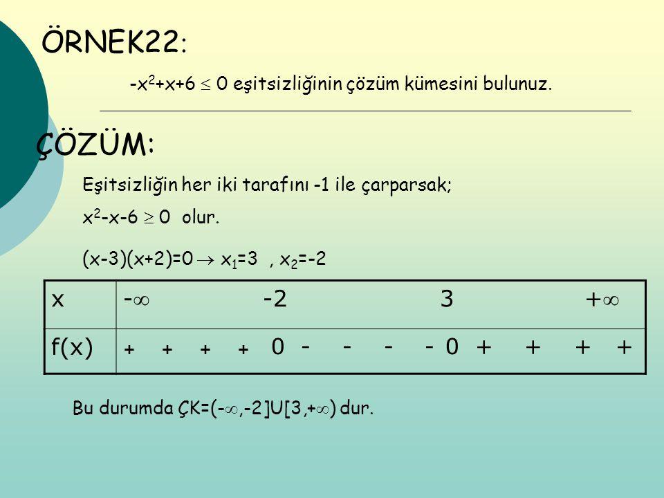 ÖRNEK22 : -x 2 +x+6  0 eşitsizliğinin çözüm kümesini bulunuz. Eşitsizliğin her iki tarafını -1 ile çarparsak; x 2 -x-6  0 olur. (x-3)(x+2)=0  x 1 =