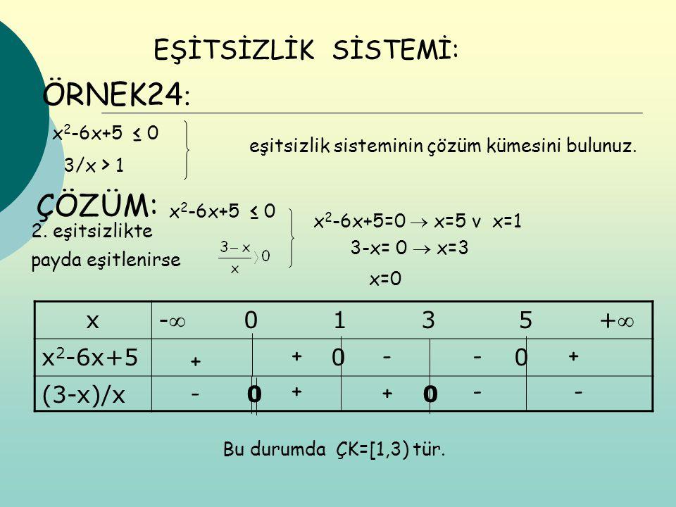 ÖRNEK24 : EŞİTSİZLİK SİSTEMİ: x 2 -6x+5 ≤ 0 3/x > 1 eşitsizlik sisteminin çözüm kümesini bulunuz. ÇÖZÜM: x 2 -6x+5 ≤ 0 x 2 -6x+5=0  x=5 v x=1 3-x= 0
