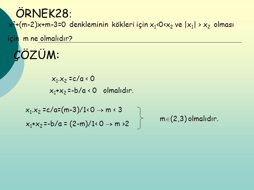 ÖRNEK28 : x 2 +(m-2)x+m-3=0 denkleminin kökleri için x 1 ‹0‹x 2 ve |x 1 | > x 2 olması için m ne olmalıdır? ÇÖZÜM: x 1.x 2 =c/a ‹ 0 x 1 +x 2 =-b/a ‹ 0