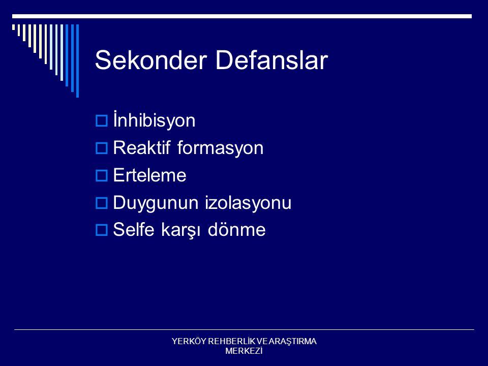 Sekonder Defanslar  İnhibisyon  Reaktif formasyon  Erteleme  Duygunun izolasyonu  Selfe karşı dönme YERKÖY REHBERLİK VE ARAŞTIRMA MERKEZİ