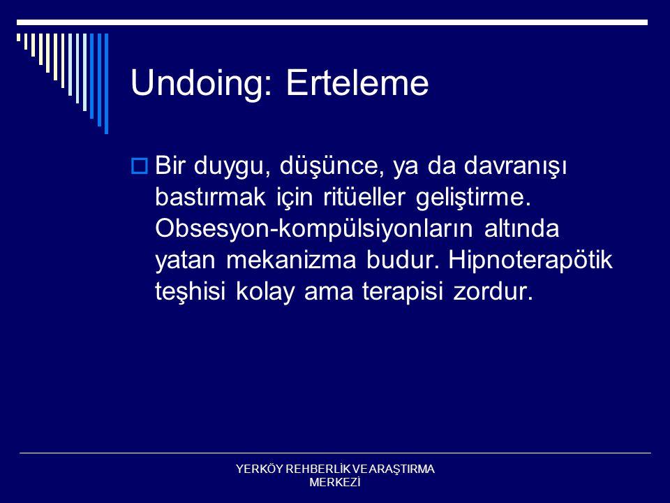 Undoing: Erteleme  Bir duygu, düşünce, ya da davranışı bastırmak için ritüeller geliştirme.
