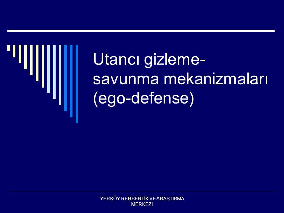 Primer ego savunma  Fantezi bağımlılık  Uyuşturma  Dissosiasyon  Yerdeğiştirme  Depersonilizasyon  İdantifikasyon  Konversiyon ( hissi/somatik)  projeksiyon YERKÖY REHBERLİK VE ARAŞTIRMA MERKEZİ