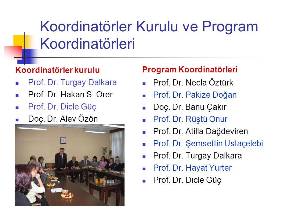 Koordinatörler Kurulu ve Program Koordinatörleri Koordinatörler kurulu Prof. Dr. Turgay Dalkara Prof. Dr. Hakan S. Orer Prof. Dr. Dicle Güç Doç. Dr. A