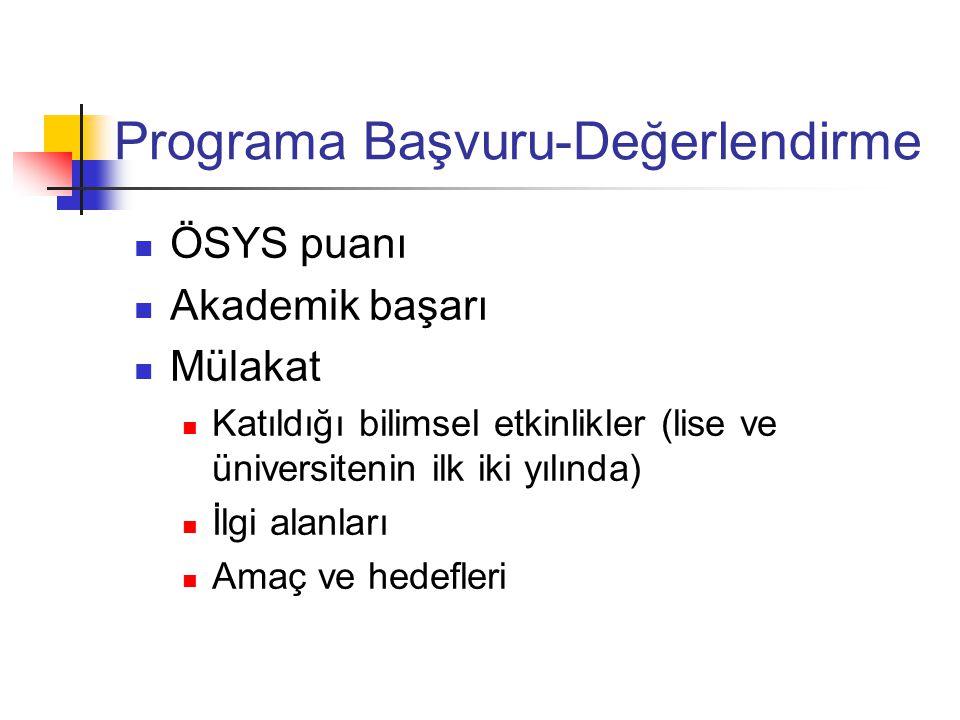 Programa Başvuru-Değerlendirme ÖSYS puanı Akademik başarı Mülakat Katıldığı bilimsel etkinlikler (lise ve üniversitenin ilk iki yılında) İlgi alanları