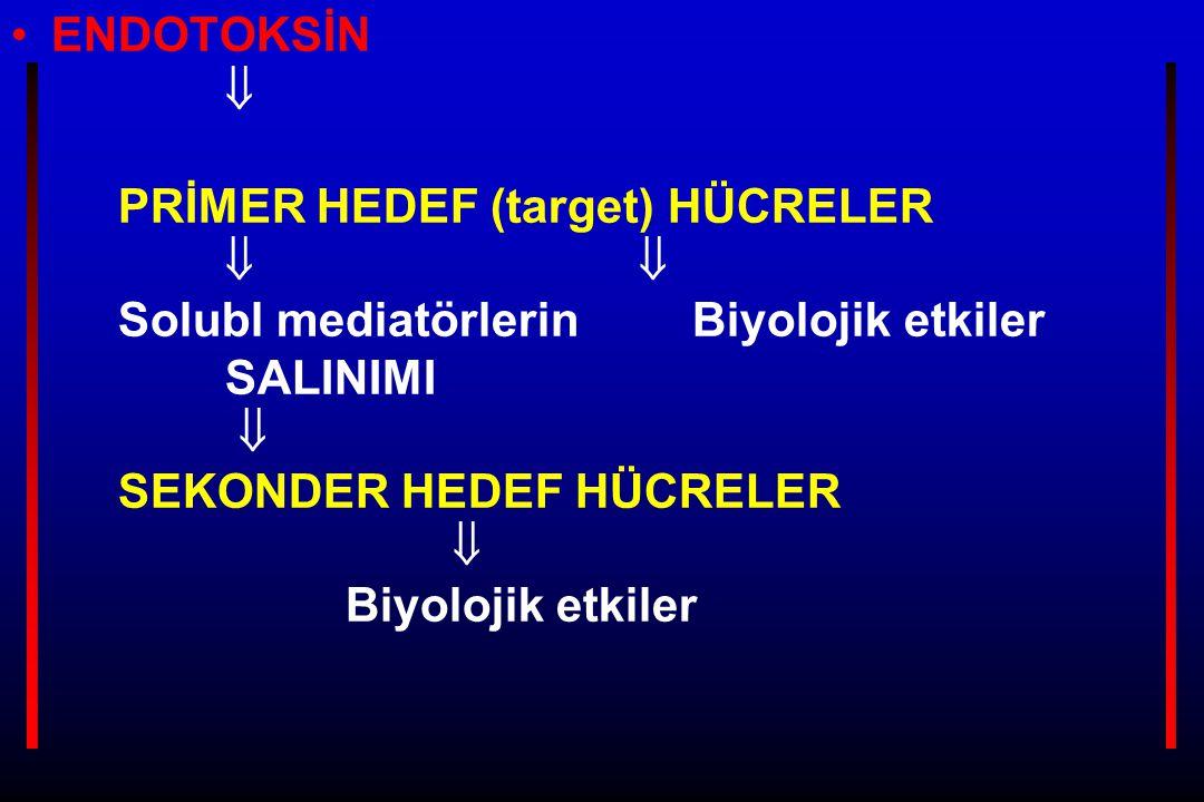 ENDOTOKSİN  PRİMER HEDEF (target) HÜCRELER   Solubl mediatörlerin Biyolojik etkiler SALINIMI  SEKONDER HEDEF HÜCRELER  Biyolojik etkiler