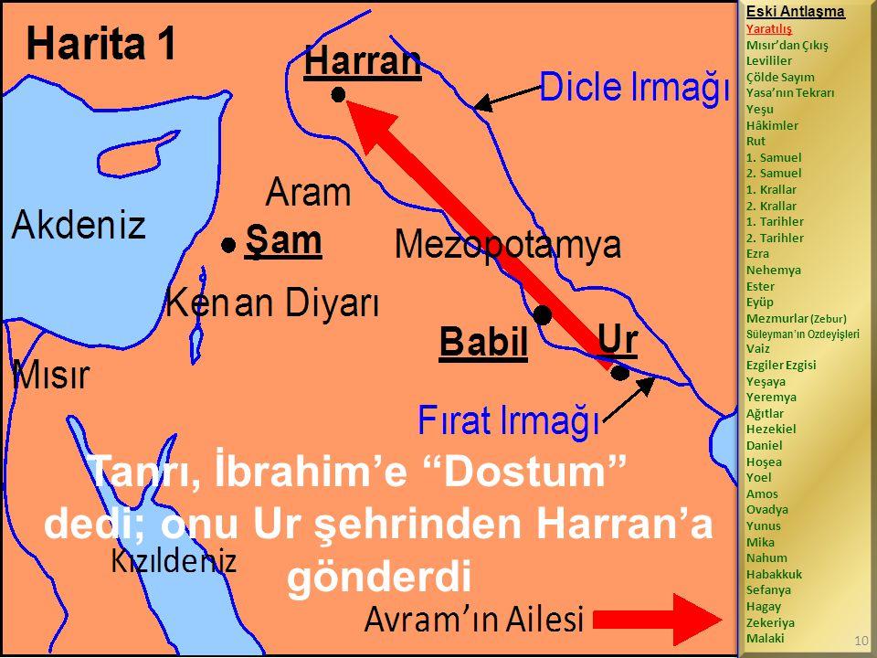 Tanrı, İbrahim'e Dostum dedi; onu Ur şehrinden Harran'a gönderdi Eski Antlaşma Yaratılış Mısır'dan Çıkış Levililer Çölde Sayım Yasa'nın Tekrarı Yeşu Hâkimler Rut 1.