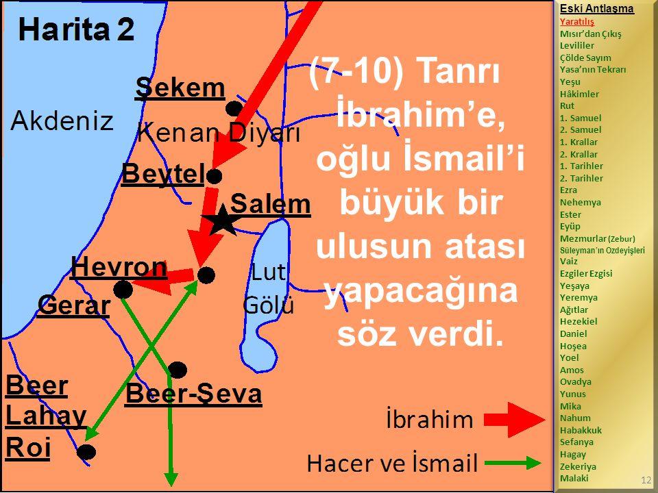 (7-10) Tanrı İbrahim'e, oğlu İsmail'i büyük bir ulusun atası yapacağına söz verdi.