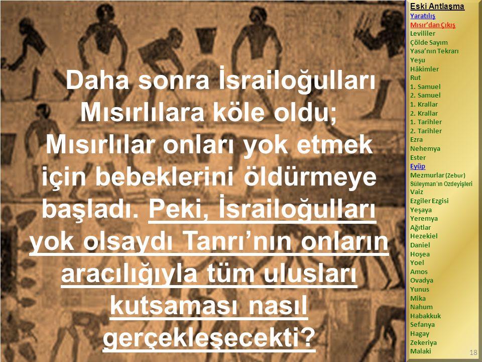 Daha sonra İsrailoğulları Mısırlılara köle oldu; Mısırlılar onları yok etmek için bebeklerini öldürmeye başladı.