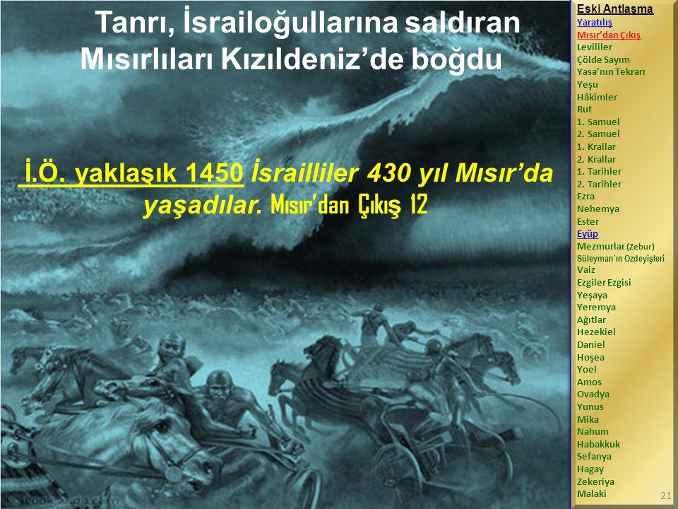 Tanrı, İsrailoğullarına saldıran Mısırlıları Kızıldeniz'de boğdu İ.Ö.