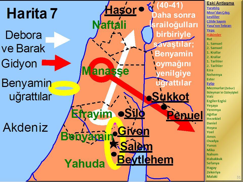 (40-41) Daha sonra İsrailoğulları birbiriyle savaştılar; Benyamin oymağını yenilgiye uğrattılar Eski Antlaşma Yaratılış Mısır'dan Çıkış Levililer Çölde Sayım Yasa'nın Tekrarı Yeşu Hâkimler Rut 1.